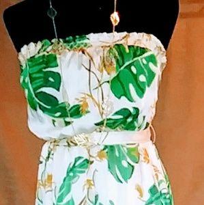 Sleeveless maxi dress with tie waste